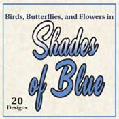 Birds, Butterflies, And Flowers In Shades Of Blue